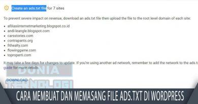 Cara Membuat dan Memasang file Ads.txt di WordPress